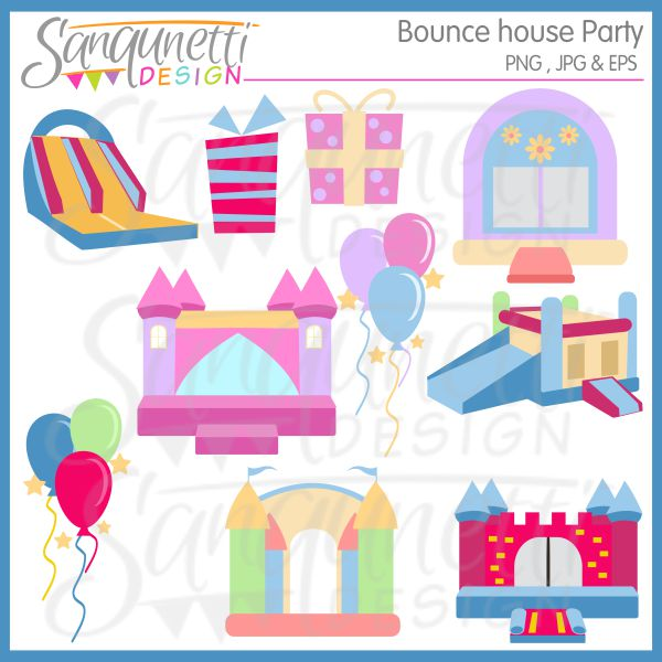 Sanqunetti Design  Bounce House Party Clipart