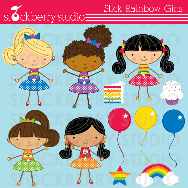 Stick Figure Rainbow Girls Clipart Set Now Available  Check It Out