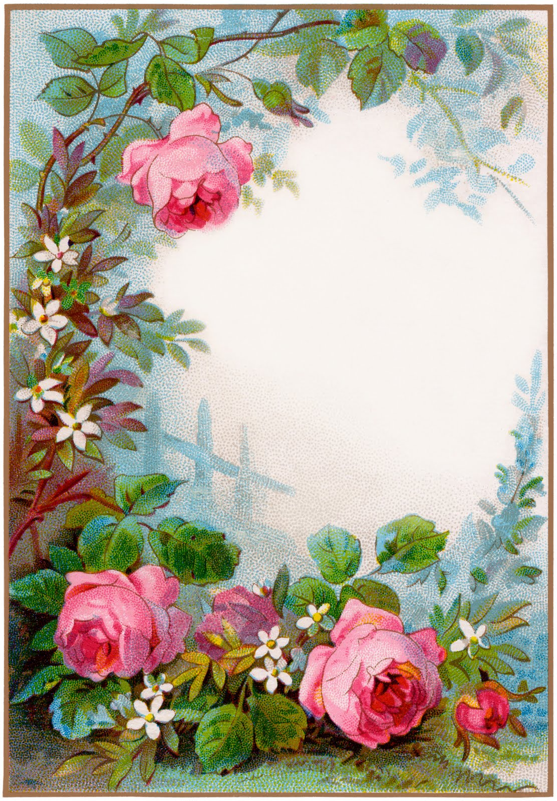 Vintage rose border clipart clipart suggest for Free rose garden designs
