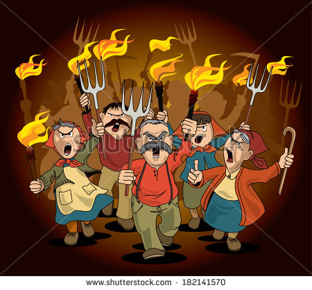 Angry Villagers On The March   Stock Photo