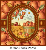 Apple Harvest   Retro Apple Harvest In Woodcut Style Vector