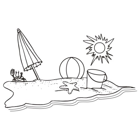 Beach Black And White Clipart - Clipart Kid