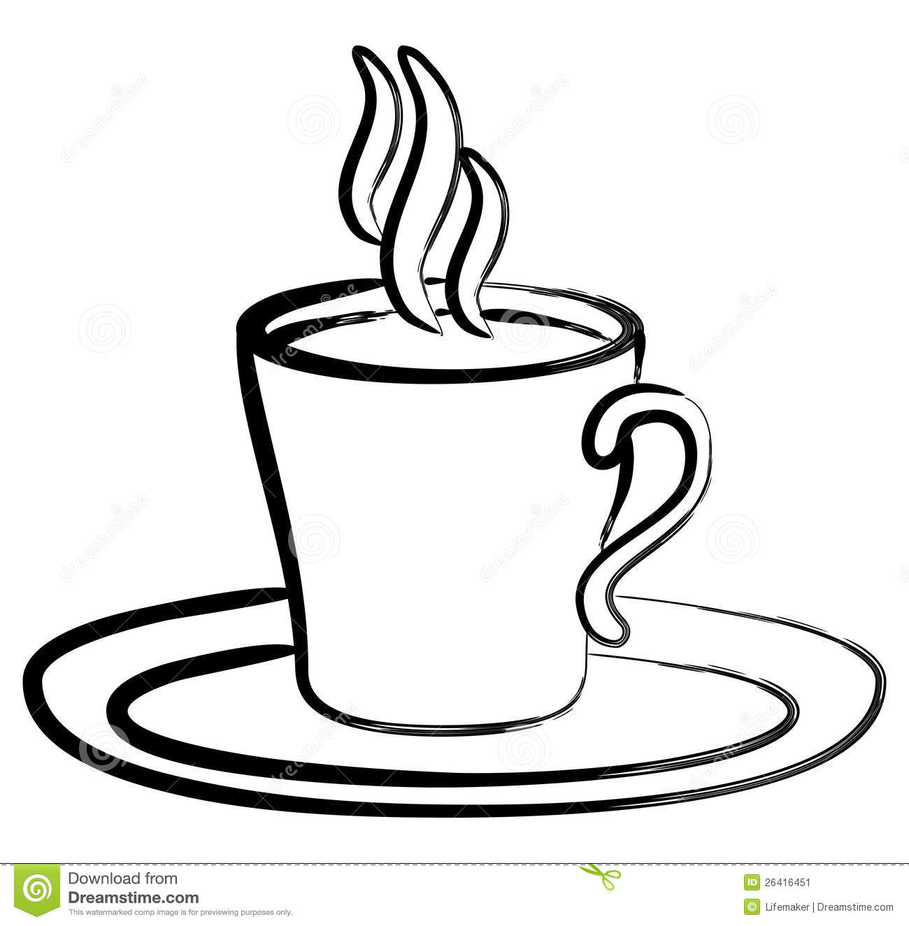 Art Black White Coffee In Cup Stock Image   Image  26416451