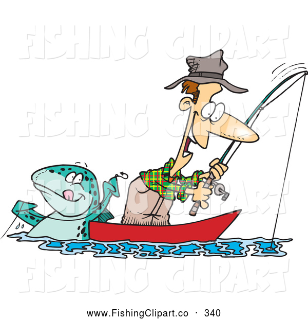 Art Of A Happy Cartoon Fish Tugging On A Man By Ron Leishman    340