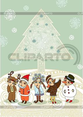 Christmas Tree And Children In Fancy Dress     Olesya Karakotsya