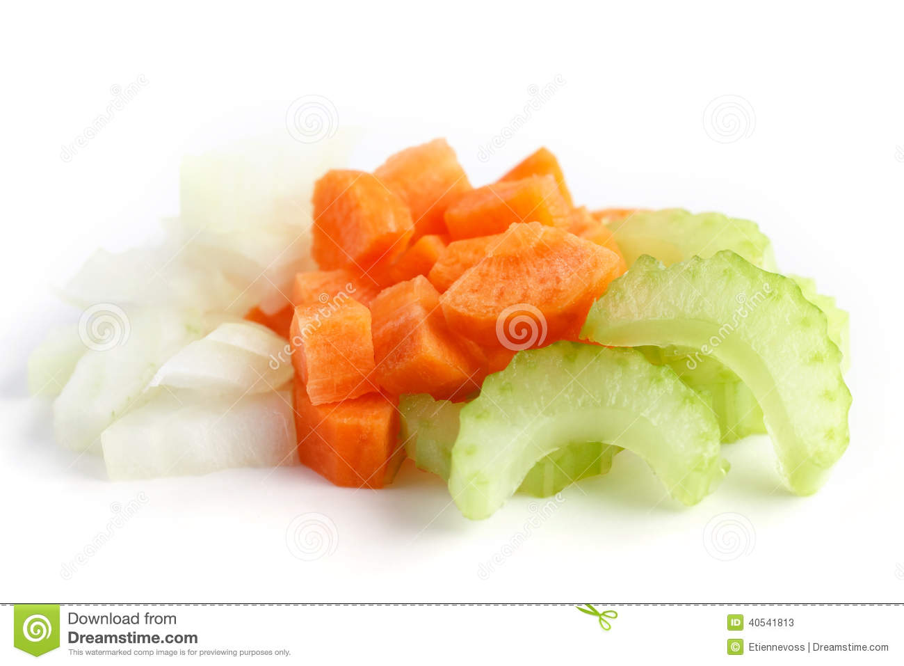 Classic Mix Of Carrots Celery And Onion All Chopped Up And Ready To
