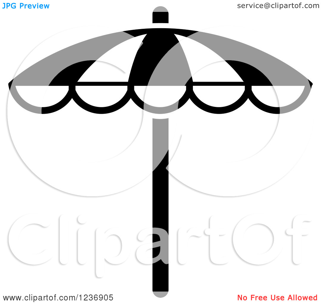 Clipart Of A Black And White Beach Umbrella Icon   Royalty Free Vector