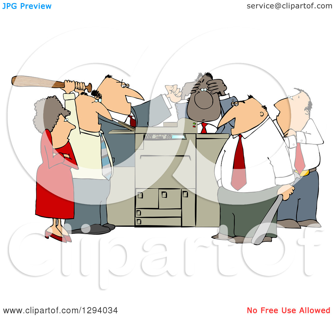 Clipart Of A Frustrated White And Black Employee Office Mob Gathered