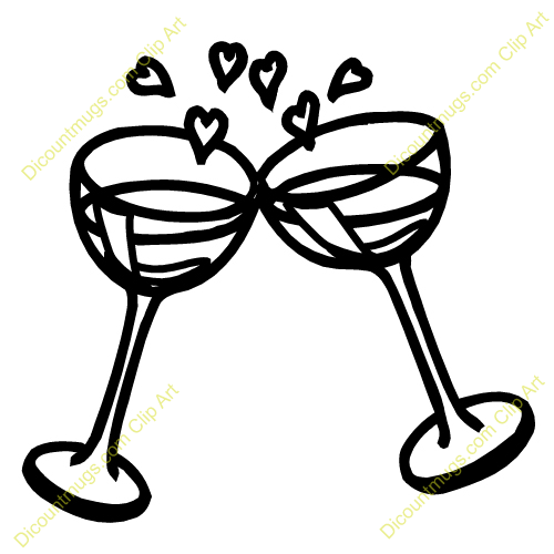 Comclipart 12520 Wine Glasses And Hearts   Wine Glasses And Hearts