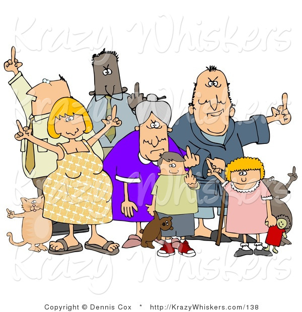 Critter Clipart Of A Mob Of Angry People Of All Ages And Mixed
