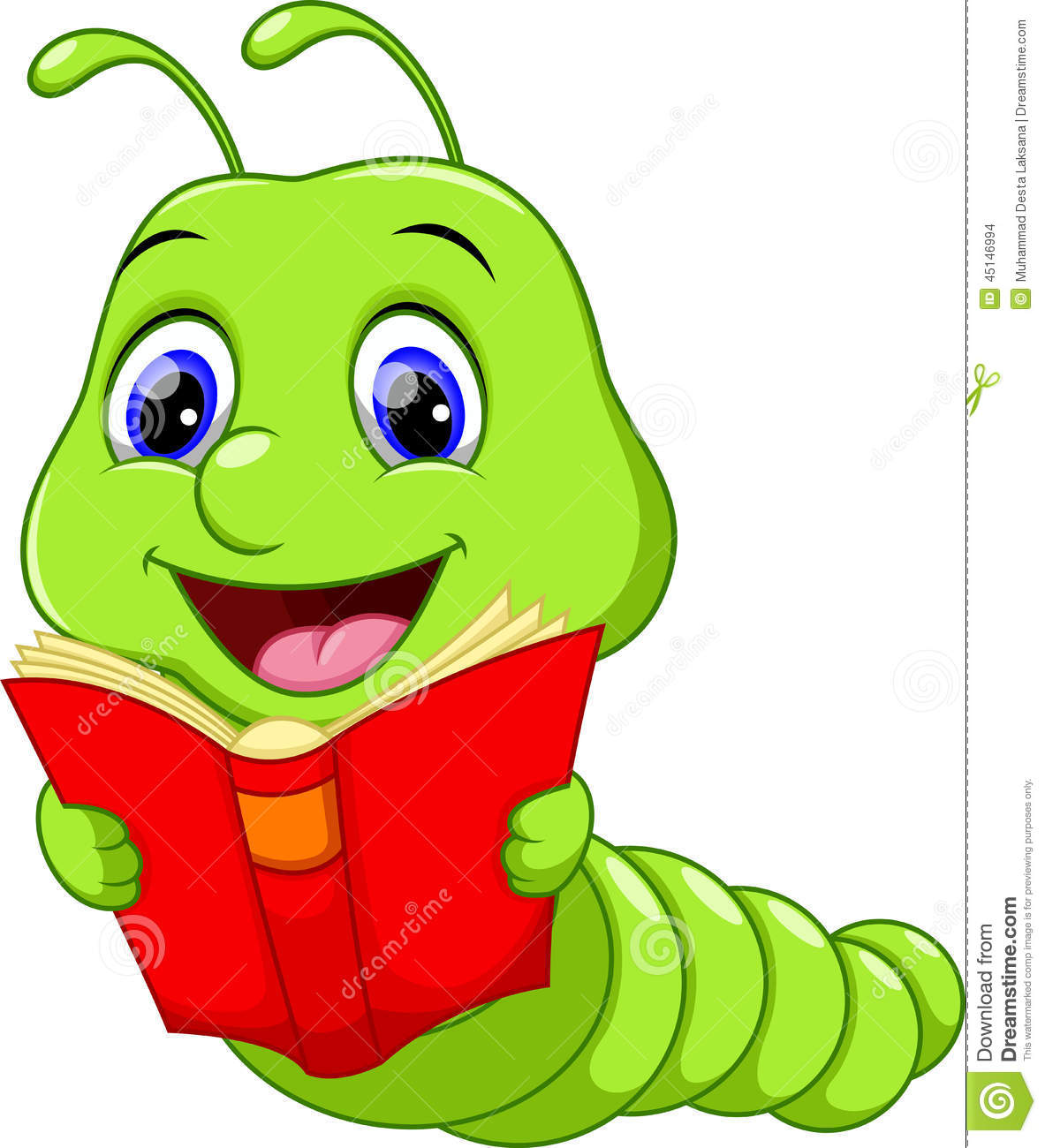 Cute Book Worm Clipart - Clipart Kid