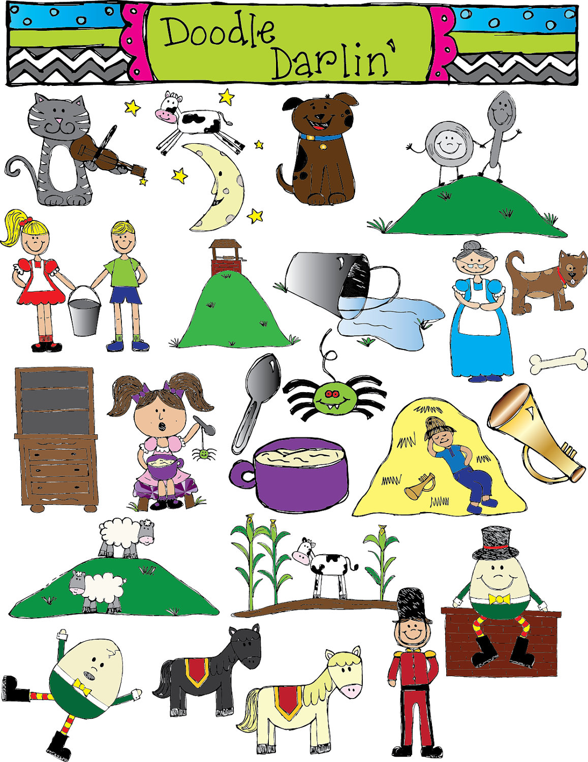 Items Similar To Nursery Rhymes Color Only Clipart Set Instant