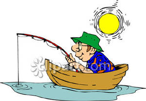 Man Enjoying Fishing On A Boat During A Sunny Day Royalty Free Clipart