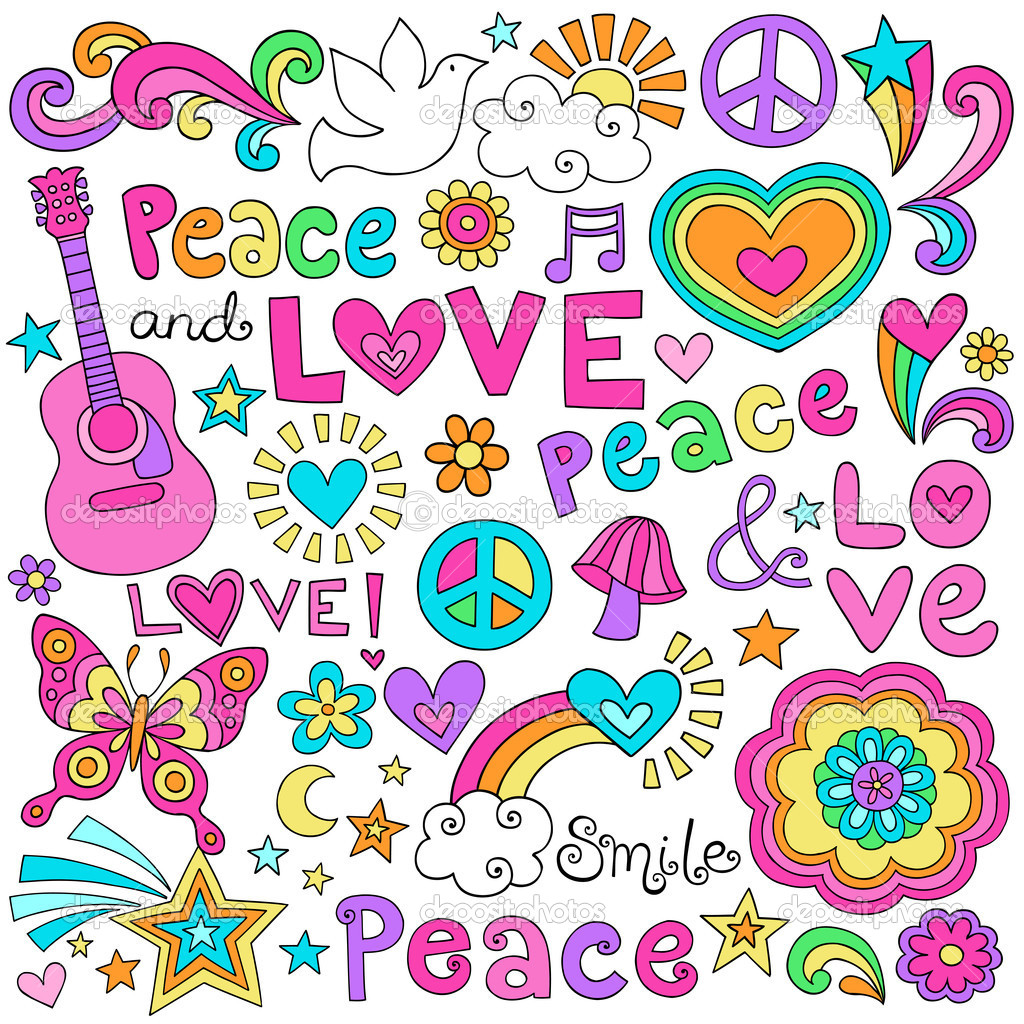 Peace Love Music And Flower Power Psychedelic Groovy Notebook Doodle