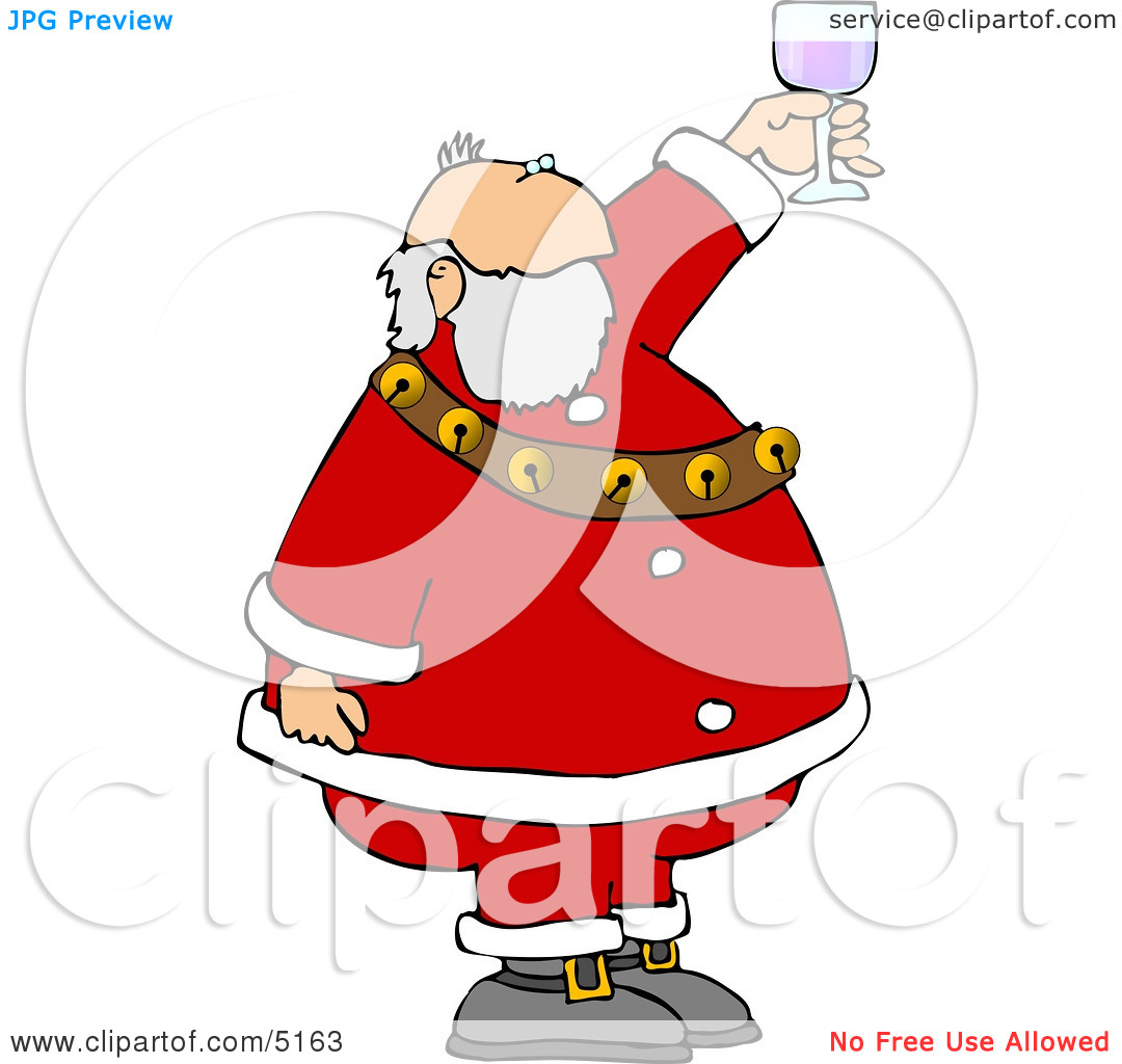 Santa Proposing A Toast With A Glass Of Wine Clipart By Djart  5163