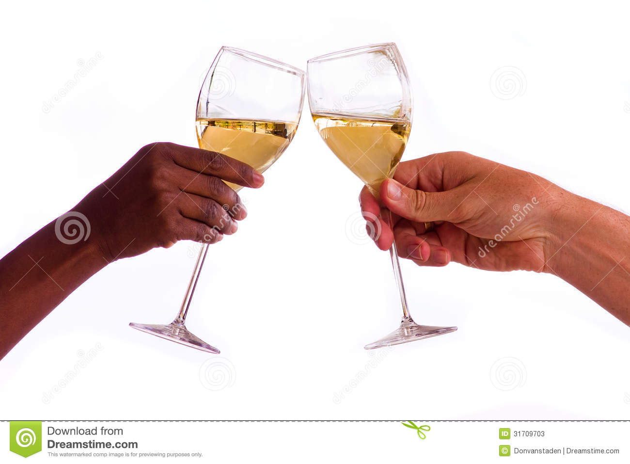 Toasting With Glasses Of White Wine Stock Photos   Image  31709703