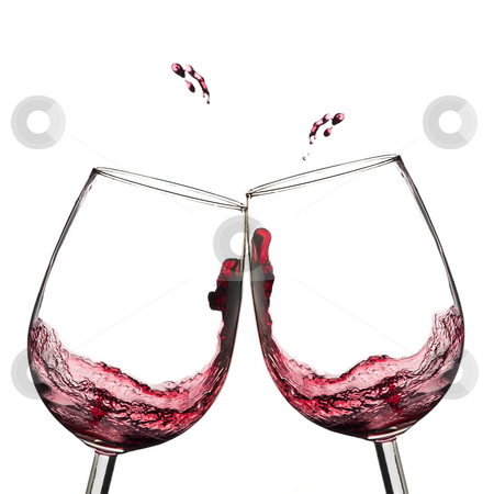 Wine Toast  Stock Photo Two Wine Glasses In Toasting With Splash  By