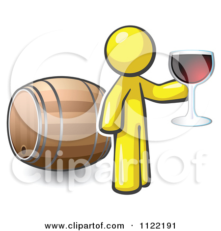 Yellow Man Toasting By A Wine Barrel At A Winery By Leo Blanchette