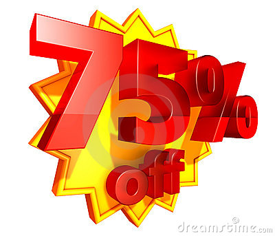 75 Percent Price Off Discount Royalty Free Stock Photography   Image
