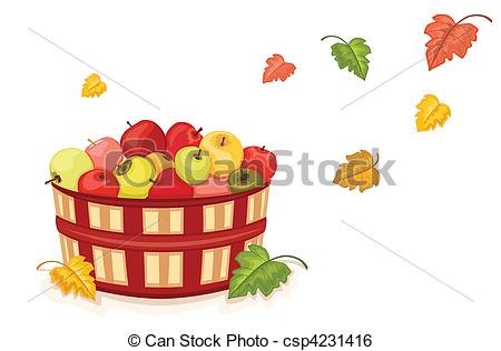 Autumn Harvest With Wicker Basket Filled With Tasty Apples  Isolated