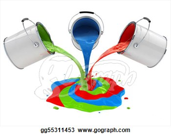 Clipart   Color Paint Pouring From Buckets And Mixing 3d Illustration