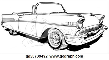 Illustration   1957 Convertible  Clipart Illustrations Gg58739492