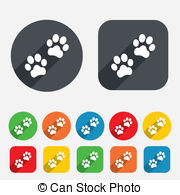 Paw Sign Icon Dog Pets Steps Symbol Circles And Rounded
