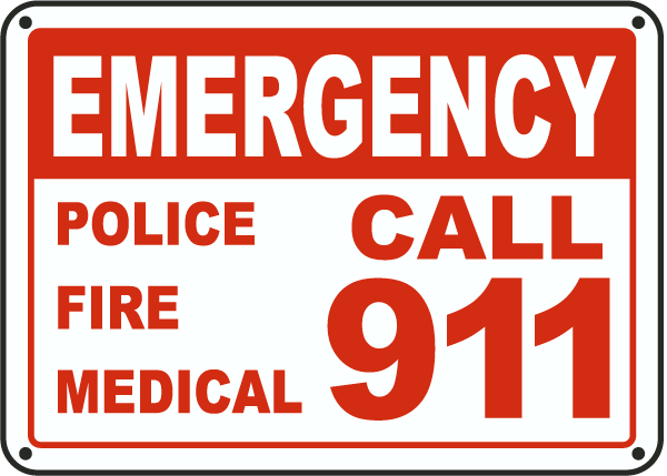 Pool Signs   Emergency Police Fire Medical Call 911 Pool Signs F7686