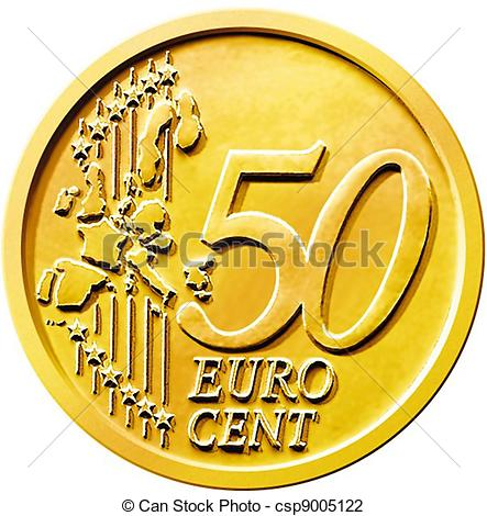 Stock Illustration   Fifty  50  Cent Euro Coin   Stock Illustration