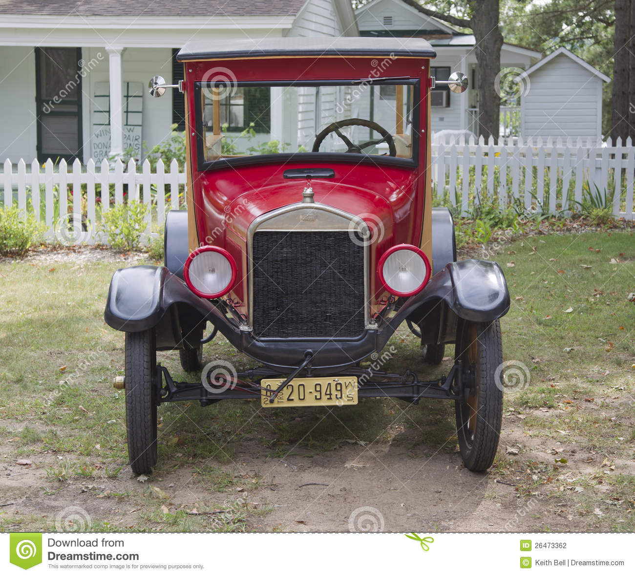 Waupaca Wi   August 25  Front View Of A 1926 Ford Model T Red Car At