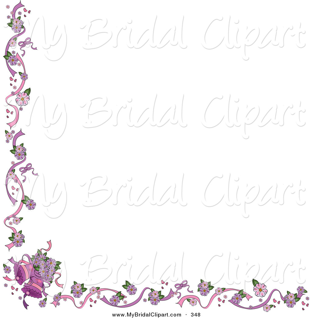 White Background With Purple Wedding Bells Border Pams Clipart