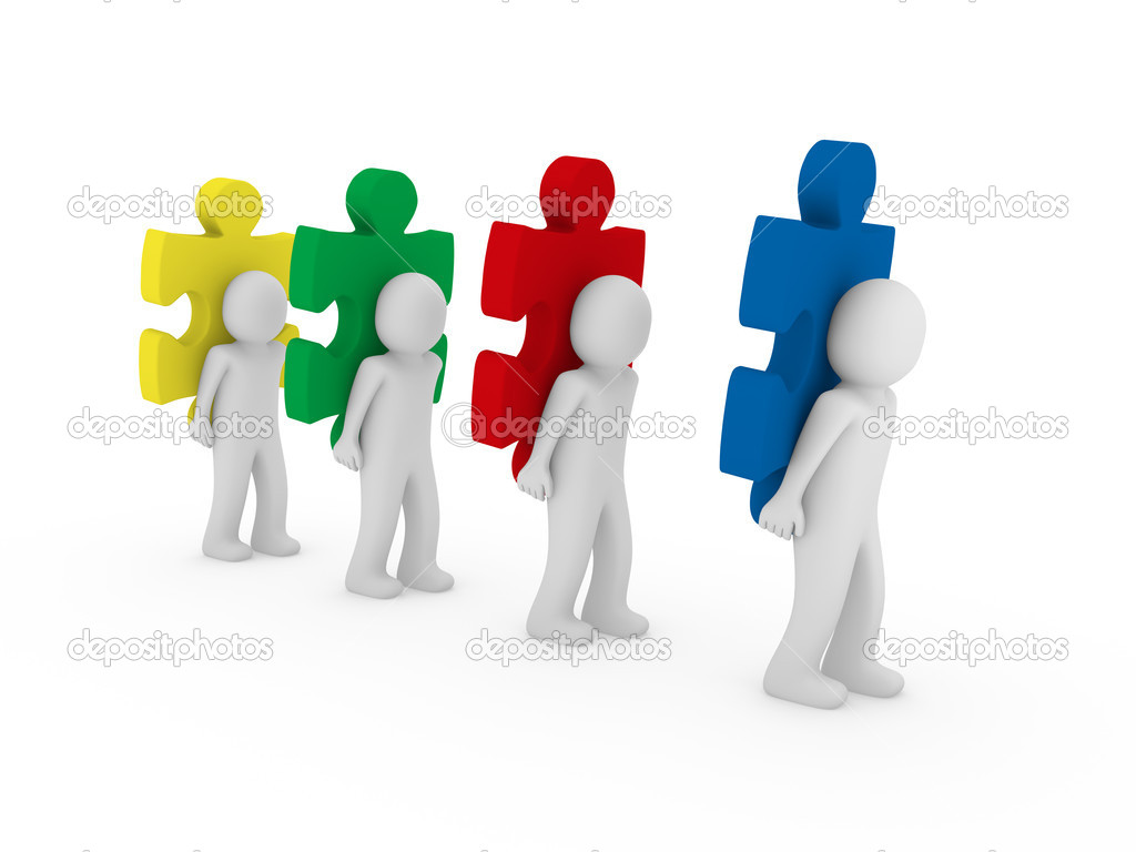 3d Men Puzzle Teamwork   Stock Photo   Dariusl  5528648