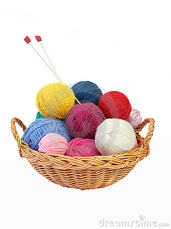Basket Of Yarn Clipart Colorful Knitting Yarn Needles