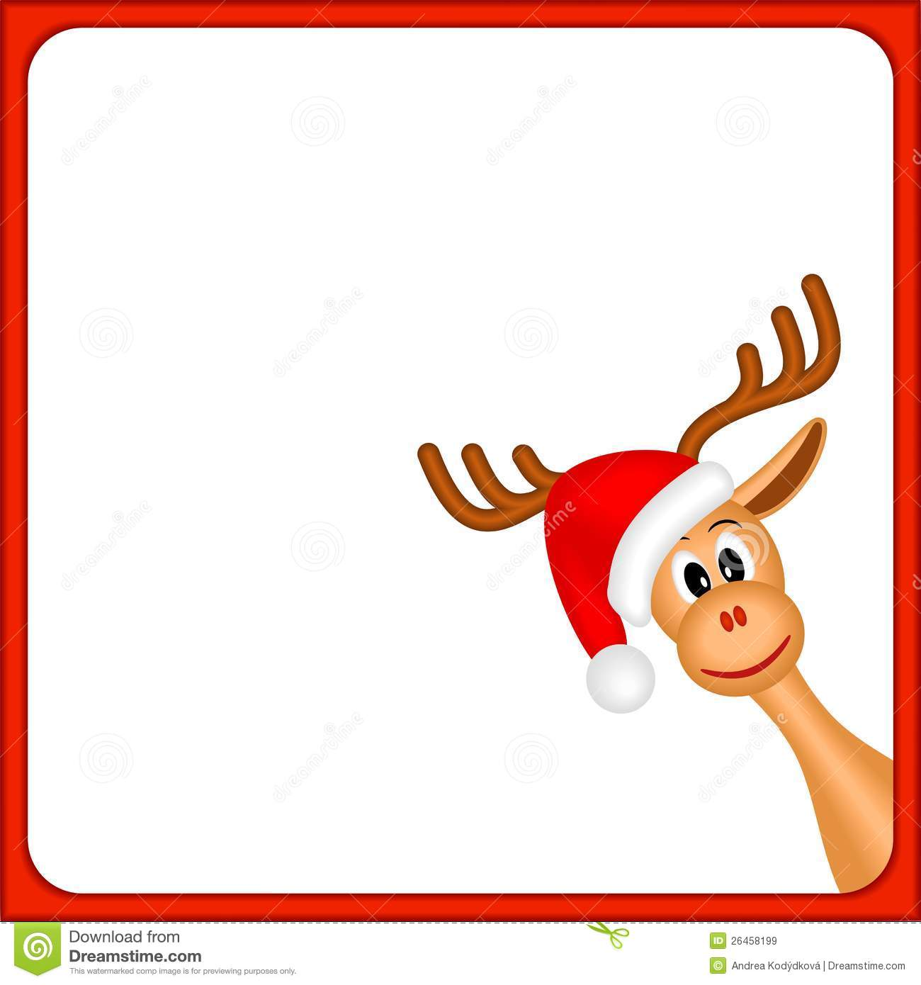Christmas Reindeer In Empty Frame With Red Border And White Background