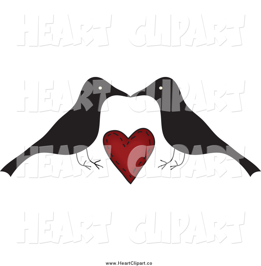 Clip Art Of A Crow Couple Kissing Over A Red Heart By Inkgraphics