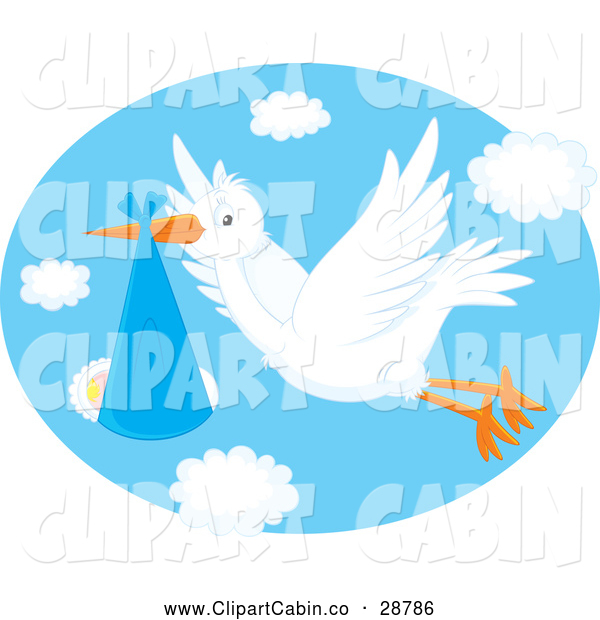 Clip Art Vector Cartoon Of A White Stork Flying A Baby In A Blue