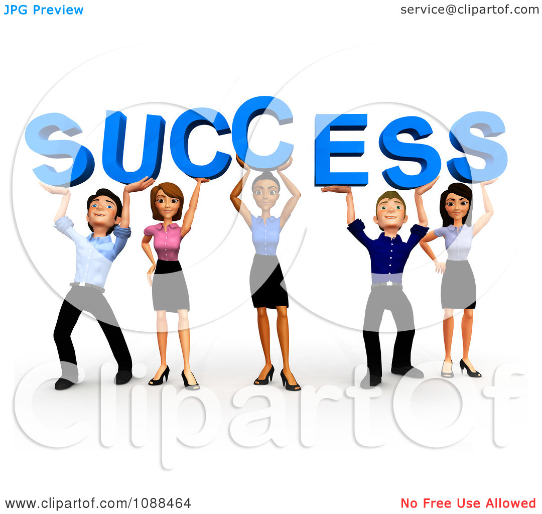 Clipart 3d Diverse Business Team Holding Up Success   Royalty Free Cgi