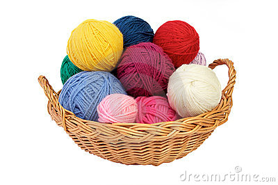 Colorful Yarn Balls In A Straw Basket Isolated On White Background