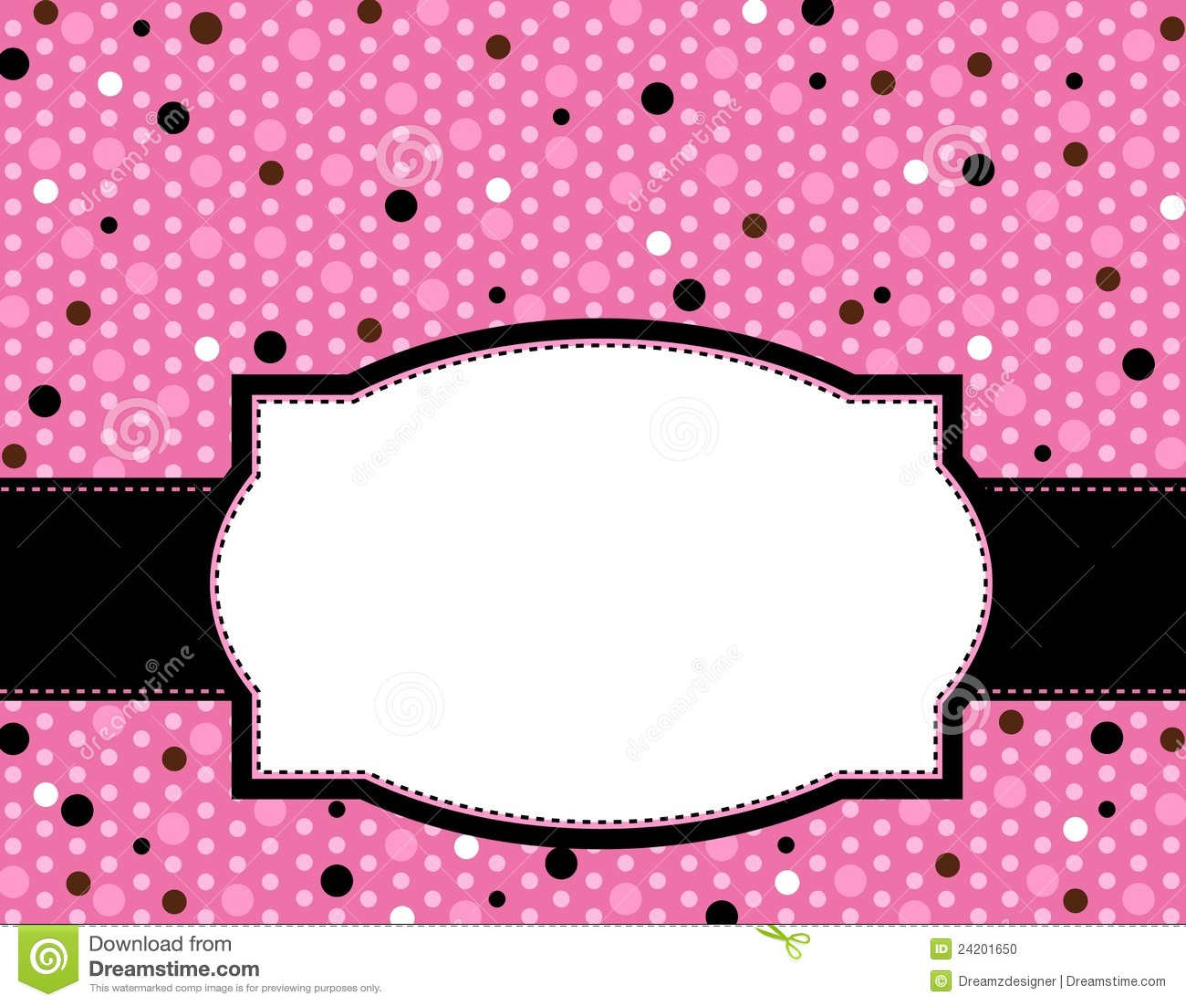 Cute polka dots design with pink ribbon and doodle frame for Dots design apartment 8