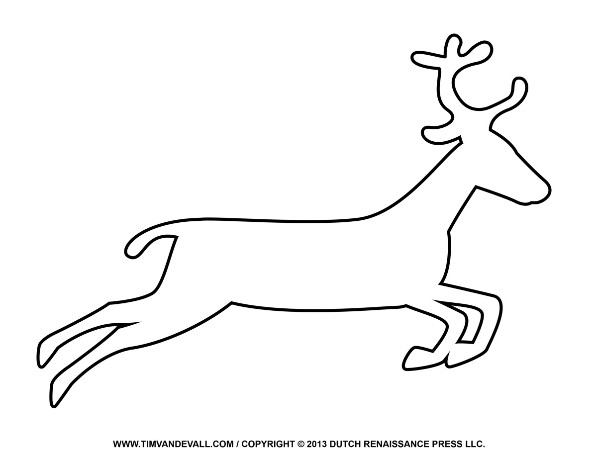 Free Reindeer Clipart Template Printable Coloring Pages ...