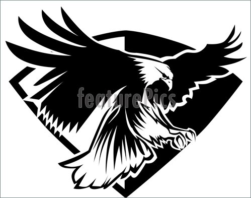 From Eagle Mascot Flying Wings Badge Design Stock Vector Clipart