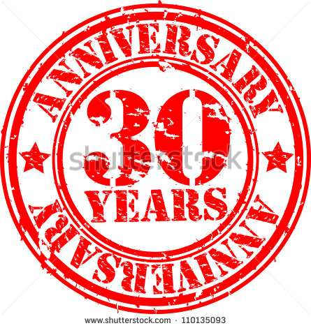 Grunge 30 Years Anniversary Rubber Stamp Vector Illustration   Stock