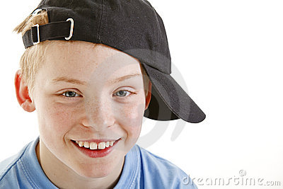Happy Smiling 12 Year Old Boy With A Cap Isolated Stock Photos   Image