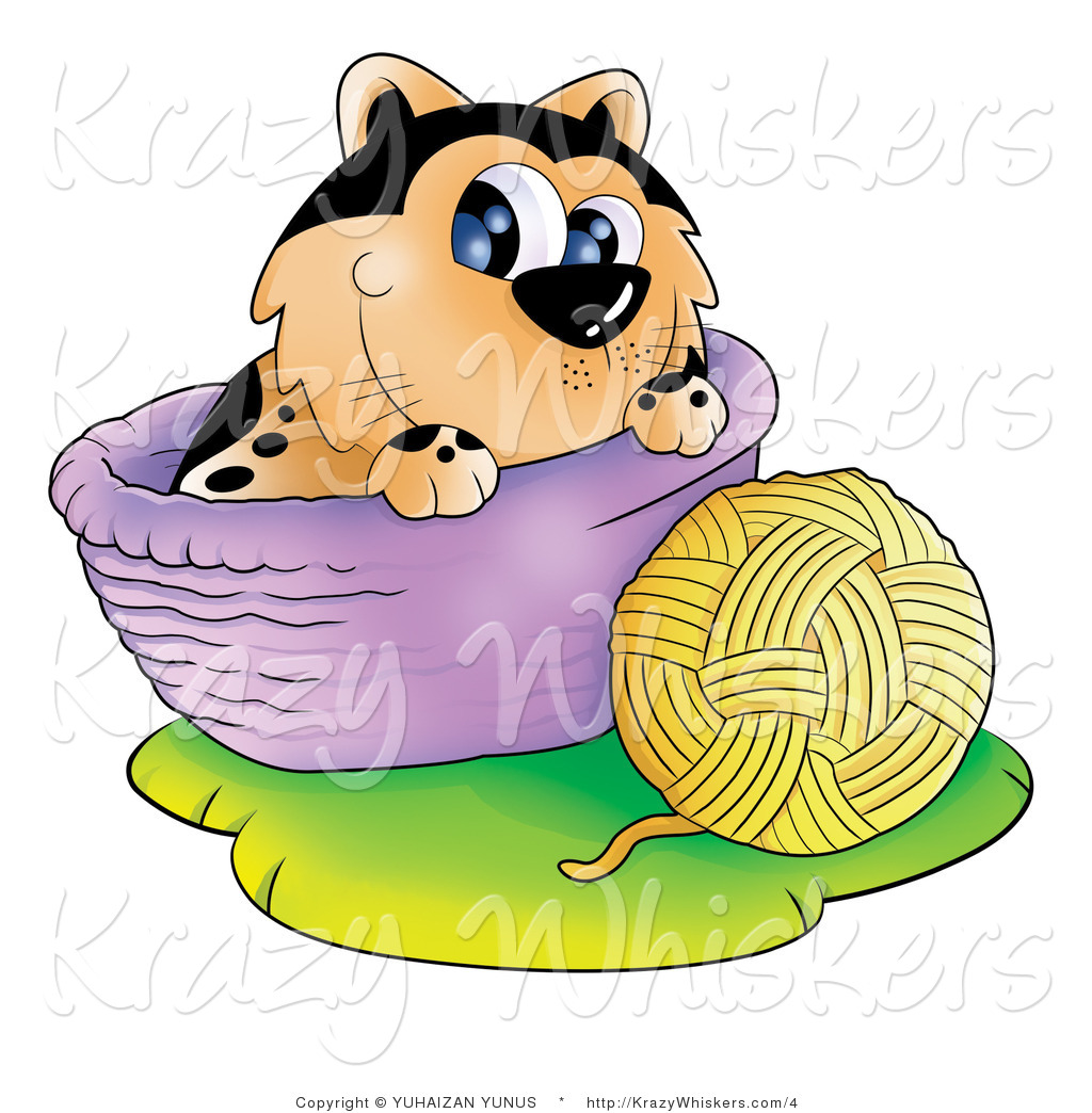 Kitty Clipart Of A Cat With A Ball Of Yarn And Basket Royalty Free By