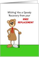 Knee Replacement Get Well Greeting Card Bear Cast On Leg And Cane Card