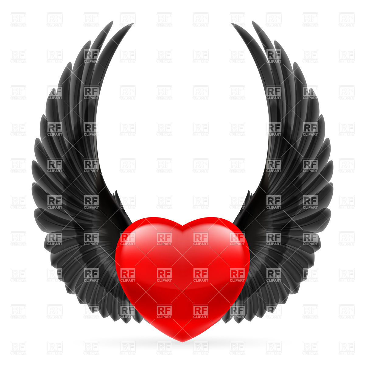 Red Heart With Black Crow Wings Up Design Elements Download Royalty
