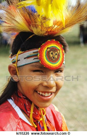 Stock Image   12 Year Old Chippewa Boy At Indian Pow Wow  Fotosearch