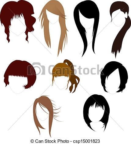 Vector   Women S Wigs   Stock Illustration Royalty Free Illustrations