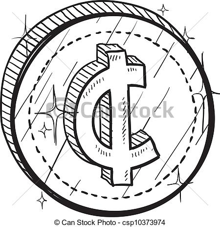 Vectors Illustration Of Cent Currency Symbol Coin Vector   Doodle