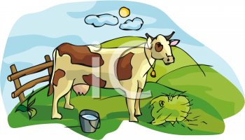 Animal Clipart Net Clipart Of A Cow On A Farm Beside A Pale Of Milk